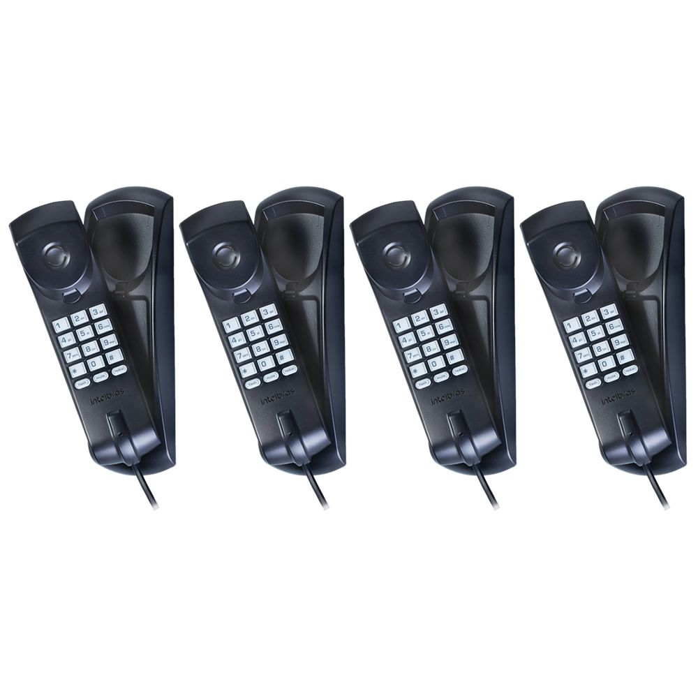 Kit 4 Telefones De Mesa E Parede TC 20 Preto Intelbras