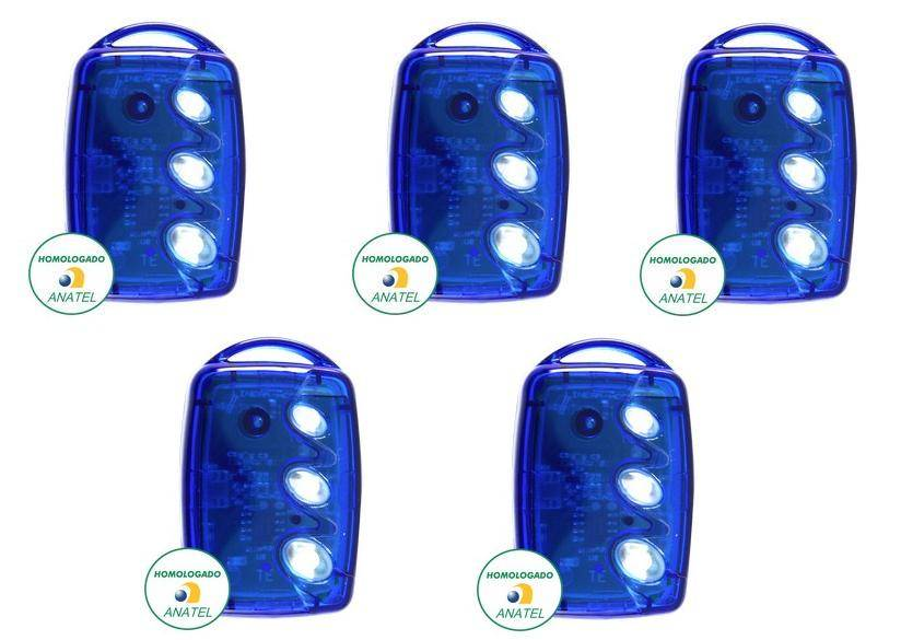 Kit 5 Controles Remotos 433 Mhz 3 Teclas TX3 T-B Azul Linear