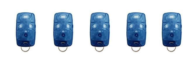 Kit 5 Controles Remotos 433 Mhz 4 Teclas TX4 Azul Linear