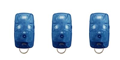 Kit 3 Controles Remotos 433 Mhz 4 Teclas TX4 Azul Linear