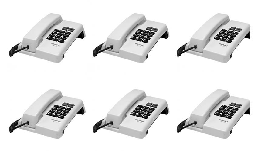 Kit 6 Telefones Com Fio TC 50 Premium Branco Intelbras