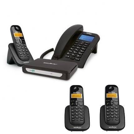 Kit Central Telefônica Sem Fio MiniCom Slim + 2 Ramais Intelbras