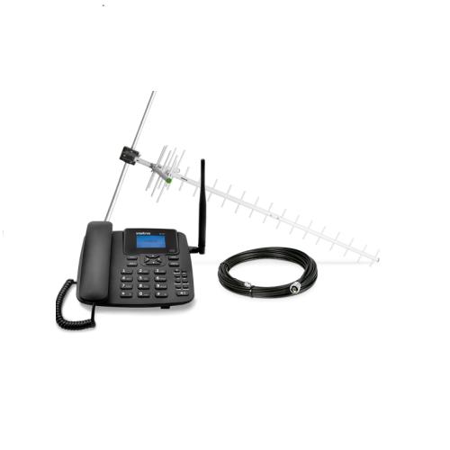 Kit GSM Telefone Celular Fixo 2 Chips com Antena e Cabo CFA 4212 Intelbras