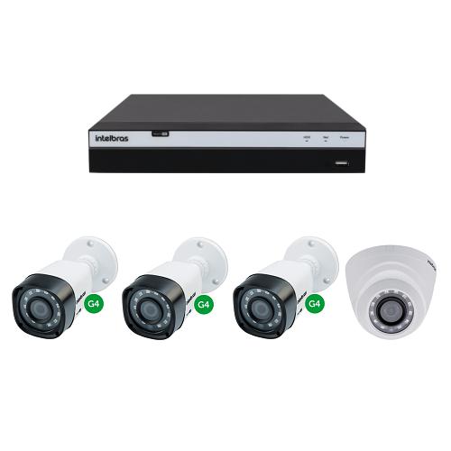 Kit CFTV 1 DVR Stand alone 04 Canais + 1 Câmera 2 Mega + 2 Câmeras 1 Mega - Intelbras