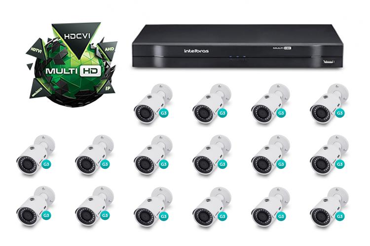 Kit CFTV DVR Stand Alone com 16 Câmeras Multi HD Intelbras