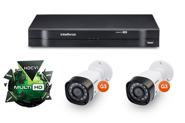 Kit CFTV DVR Stand Alone com 2 Câmeras Multi HD G3 Intelbras