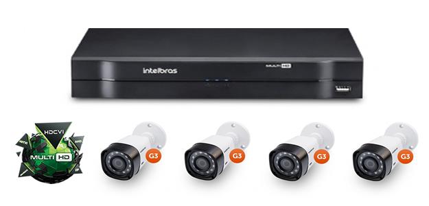 Kit DVR MHDX 1004 + 4 Câmeras HDCVI VHD 1010 B G3 Intelbras