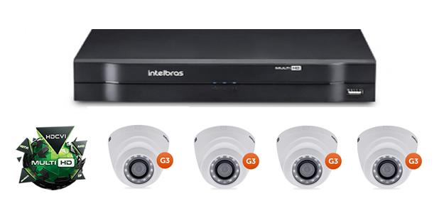 Kit CFTV DVR Stand Alone com 4 Câmeras G3 Multi HD Intelbras