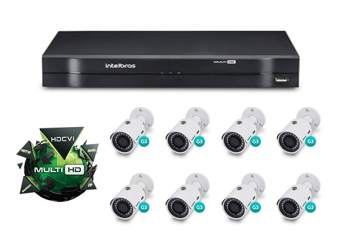 Kit CFTV DVR Stand Alone com 8 Câmeras G3 Multi HD Intelbras