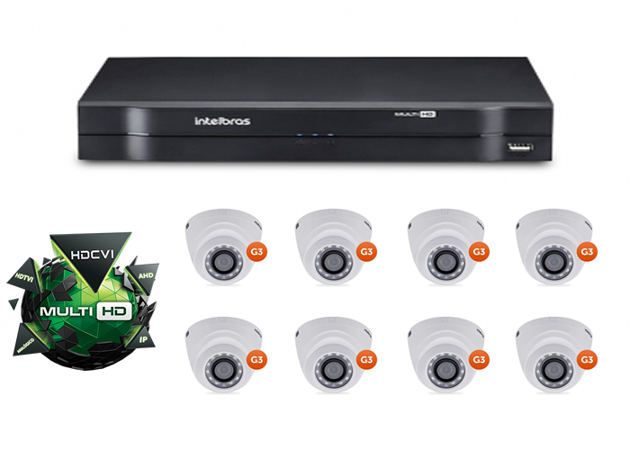 Kit CFTV DVR Stand Alone com 8 Câmeras Multi HD Intelbras