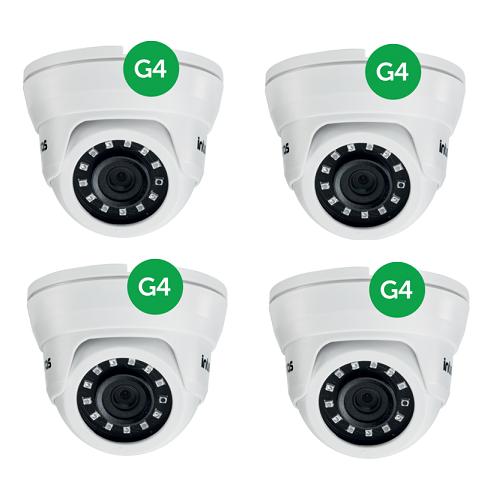 Kit CFTV 4 Câmeras AHD 1 Mega ou Analógica 10m 3.6mm VMD 1010 IR G4 Intelbras