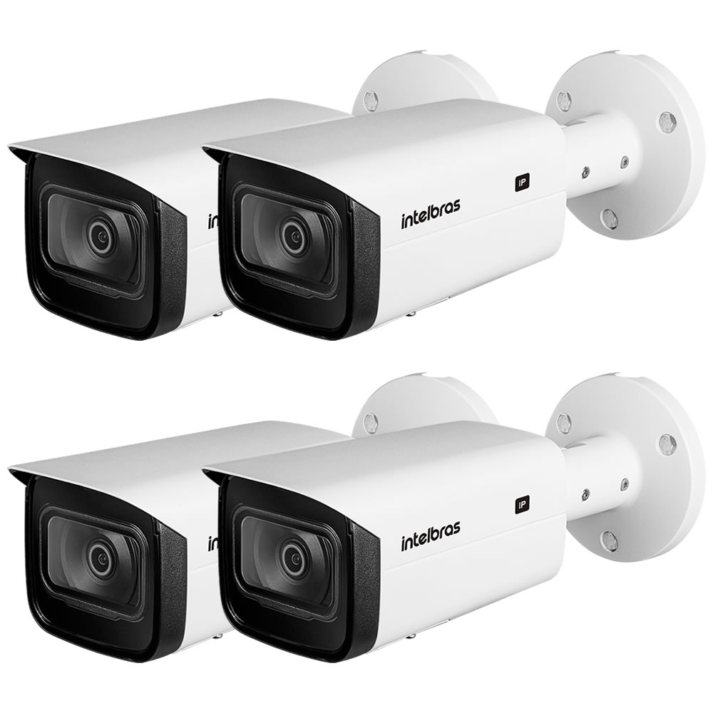 Kit 4 Câmeras IP 2 Megapixels 2.8mm 80m Inteligência Artificial VIP 5280 B IA Intelbras