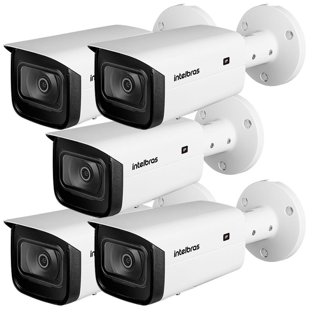 Kit 5 Câmeras IP 2 Megapixels 2.8mm 80m Inteligência Artificial VIP 5280 B IA Intelbras