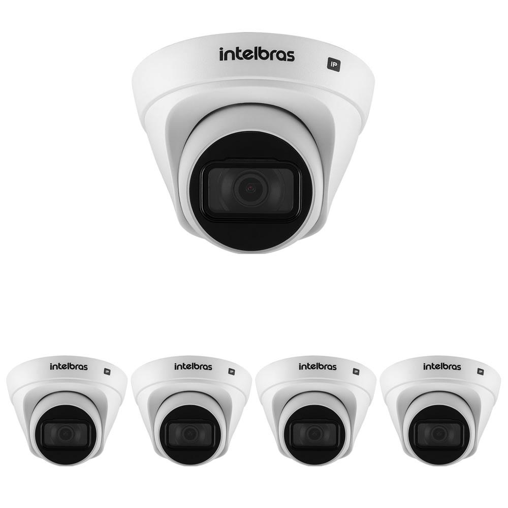 Kit 5 Câmeras IP 2 Megapixels 2.8mm 30m PoE VIP 1230 D Intelbras
