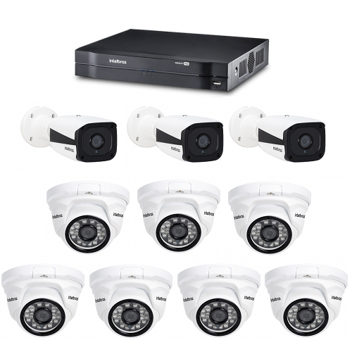 Kit CFTV DVR / NVR Stand Alone MHDX 1016 E Câmeras IPs HD VIP 1120 Intelbras