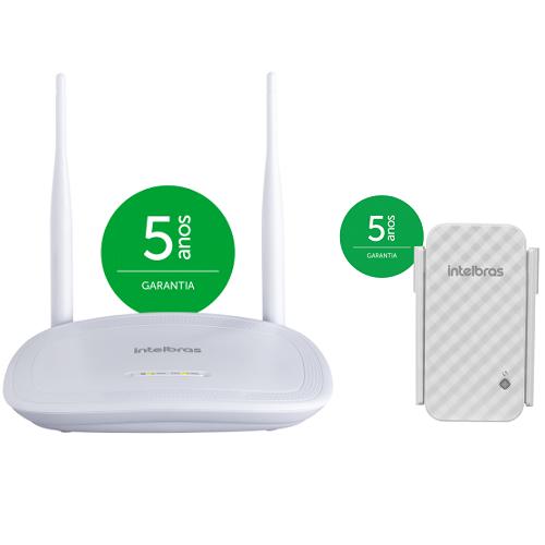 Kit Roteador Wireless Wi-Fi 300 Mpbs IWR 3000 N + Repetidor De Sinal IWE 3001 - Intelbras