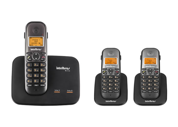 Kit Telefone 2 Linhas Ts 5150 + 2 Ramais Ts 5121 Intelbras