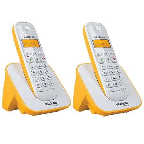 Kit Telefone Sem Fio + 1 Ramal Branco e Amarelo TS 3110 Intelbras