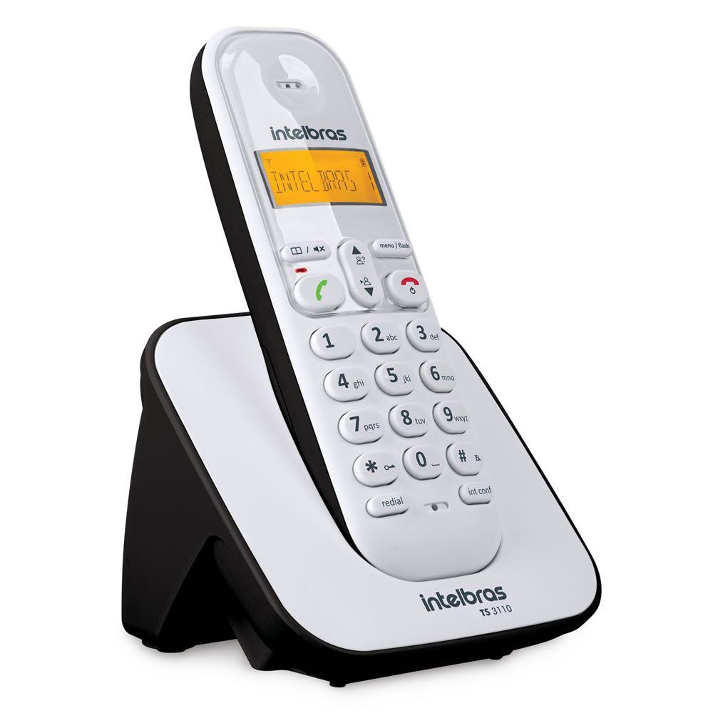 Kit Telefone Sem Fio + 1 Ramal Branco e Preto TS 3110 Intelbras