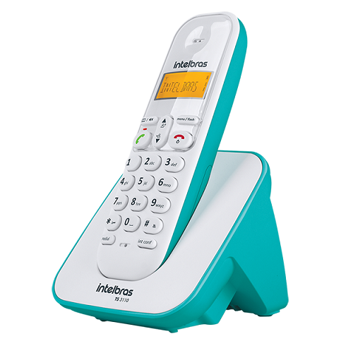 Kit Telefone Sem Fio + 2 Ramais Branco e Azul Claro TS 3110 Intelbras