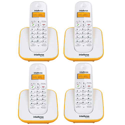 Kit Telefone Sem Fio + 3 Ramais Branco e Amarelo TS 3110 Intelbras