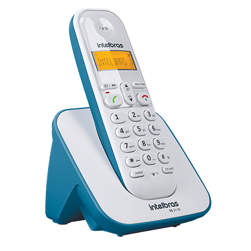 Kit Telefone Sem Fio + 3 Ramais Branco e Azul TS 3110 Intelbras