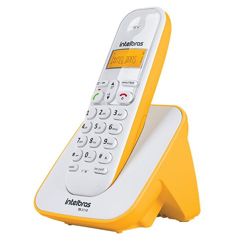 Kit Telefone Sem Fio + 4 Ramais Branco e Amarelo TS 3110 Intelbras