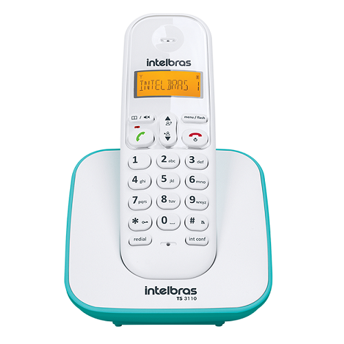 Kit Telefone Sem Fio + 4 Ramais Branco e Azul Claro TS 3110 Intelbras