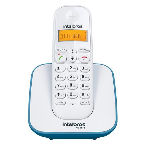Kit Telefone Sem Fio + 4 Ramais Branco e Azul TS 3110 Intelbras