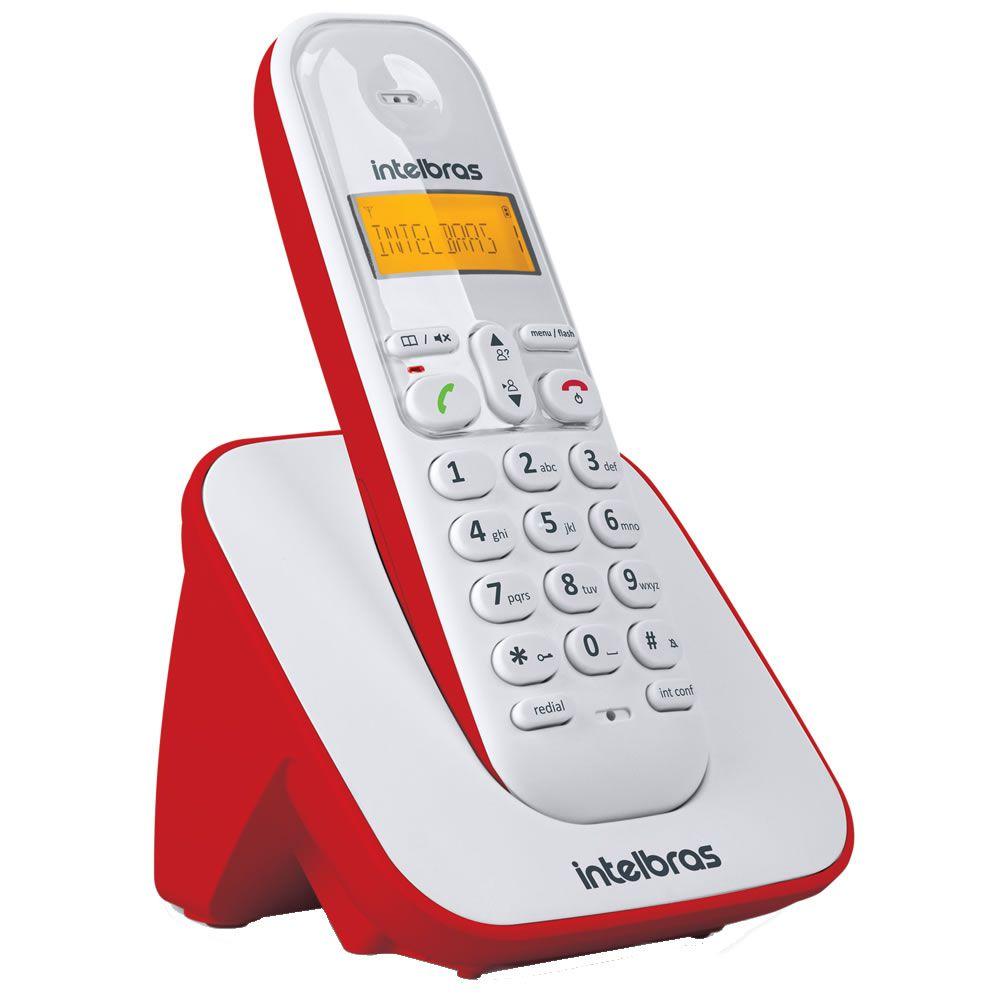 Kit Telefone Sem Fio + 4 Ramais Branco e Vermelho TS 3110 - Intelbras