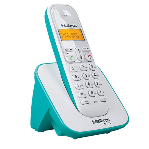 Kit Telefone Sem Fio + 5 Ramais Branco e Azul Claro TS 3110 Intelbras
