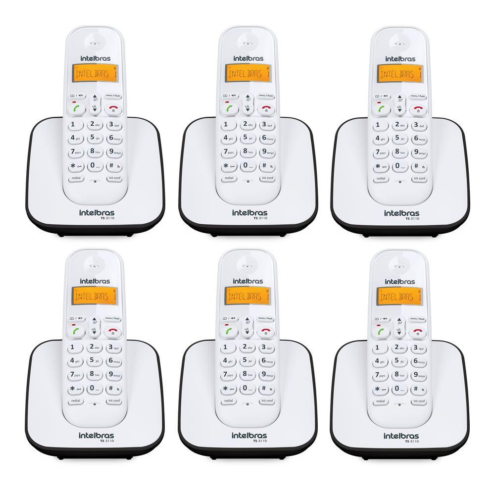 Kit Telefone Sem Fio + 5 Ramais Branco e Preto TS 3110 Intelbras