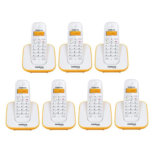 Kit Telefone Sem Fio + 6 Ramais Branco e Amarelo TS 3110 Intelbras
