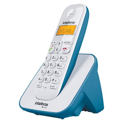 Kit Telefone Sem Fio + 6 Ramais Branco e Azul TS 3110 Intelbras
