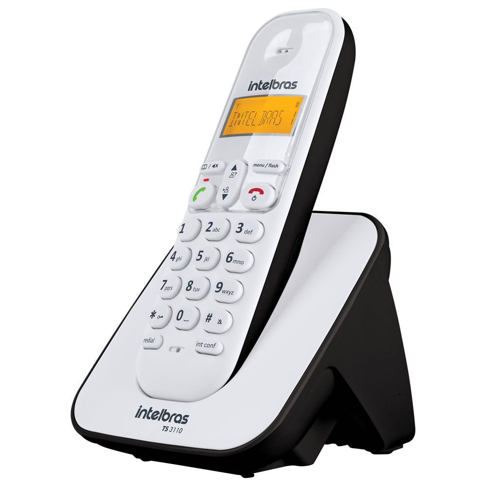 Kit Telefone Sem Fio + 6 Ramais Branco e Preto TS 3110 Intelbras