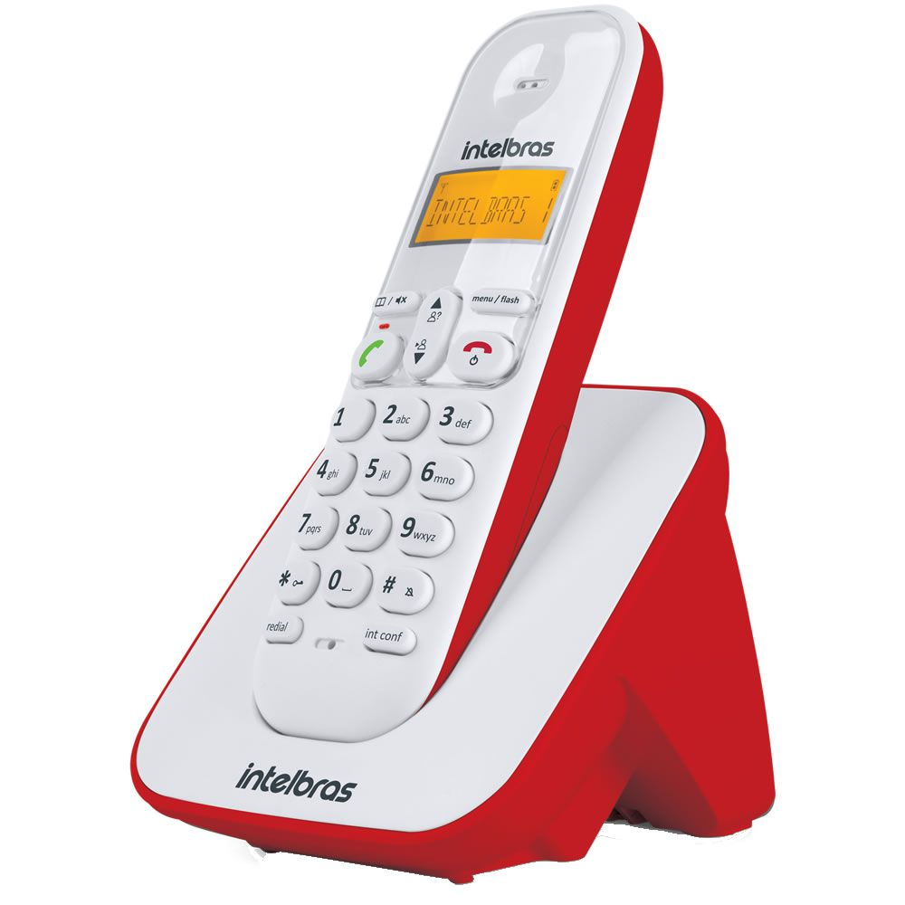 Kit Telefone Sem Fio + 6 Ramais Branco e Vermelho TS 3110 Intelbras
