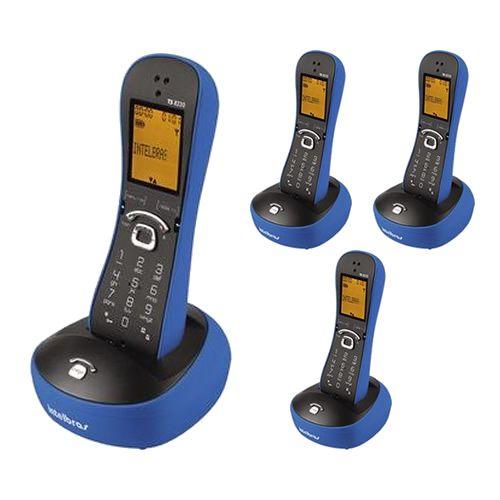 Kit Telefone Sem Fio Com Design Exclusivo TS 8220 + 3 Ramais Azul - Intelbras