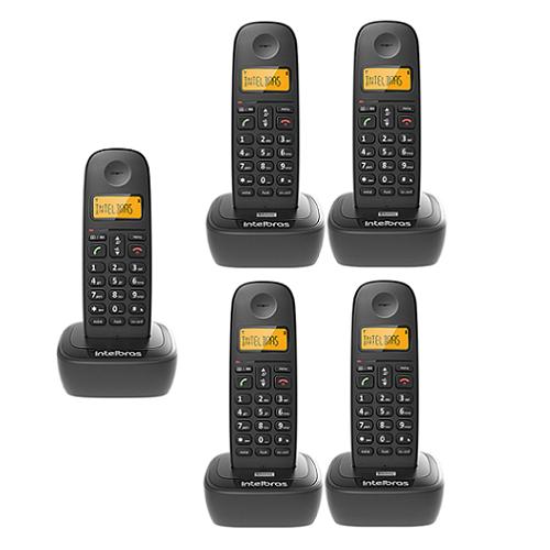 Kit Telefone Sem Fio TS 2510 + 4 Ramais TS 2511 Intelbras