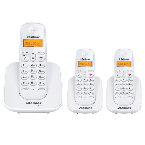 Kit Telefone Sem Fio Ts 3110 + 2 Ramais Ts 3111 Branco Intelbras