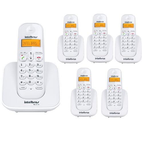 Kit Telefone Sem Fio Ts 3110 + 5 Ramais Ts 3111 Branco Intelbras