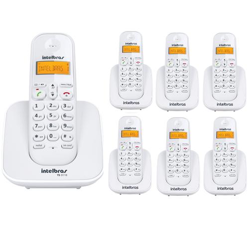 Kit Telefone Sem Fio Ts 3110 + 6 Ramais Ts 3111 Branco Intelbras
