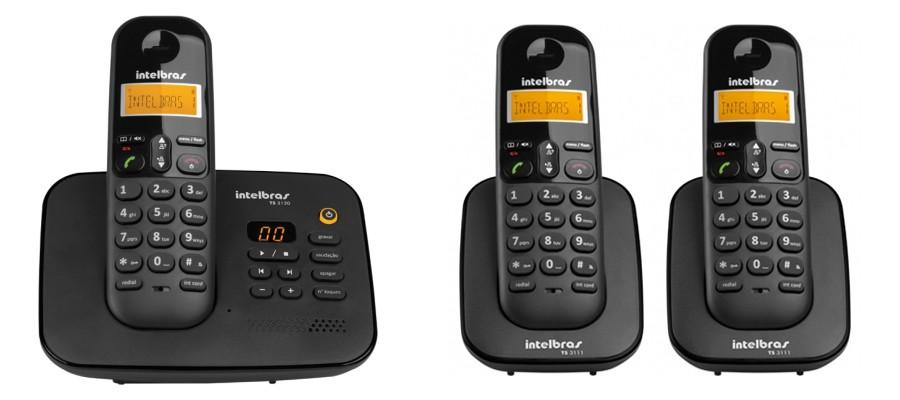Kit Telefone Sem Fio Ts 3130 + 2 Ramais Ts 3111 Intelbras