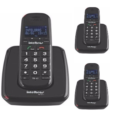 Kit Telefone Sem Fio TS 63 V + 2 Ramais Pretos Intelbras