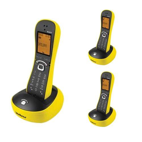 Kit Telefone Sem Fio Com Design Exclusivo TS 8220 + 2 Ramais Amarelo - Intelbras