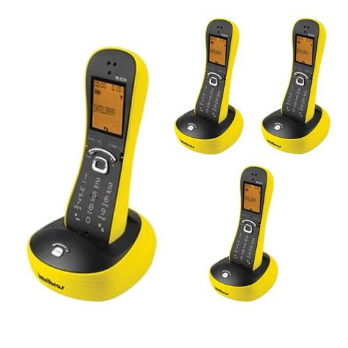 Kit Telefone Sem Fio Com Design Exclusivo TS 8220 + 3 Ramais Amarelo - Intelbras