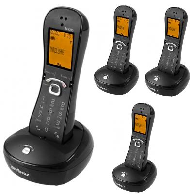 Kit Telefone Sem Fio TS 8220 + 3 Ramais Preto Intelbras
