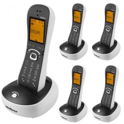 Kit Telefone Sem Fio TS 8220 + 4 Ramais Branco Intelbras