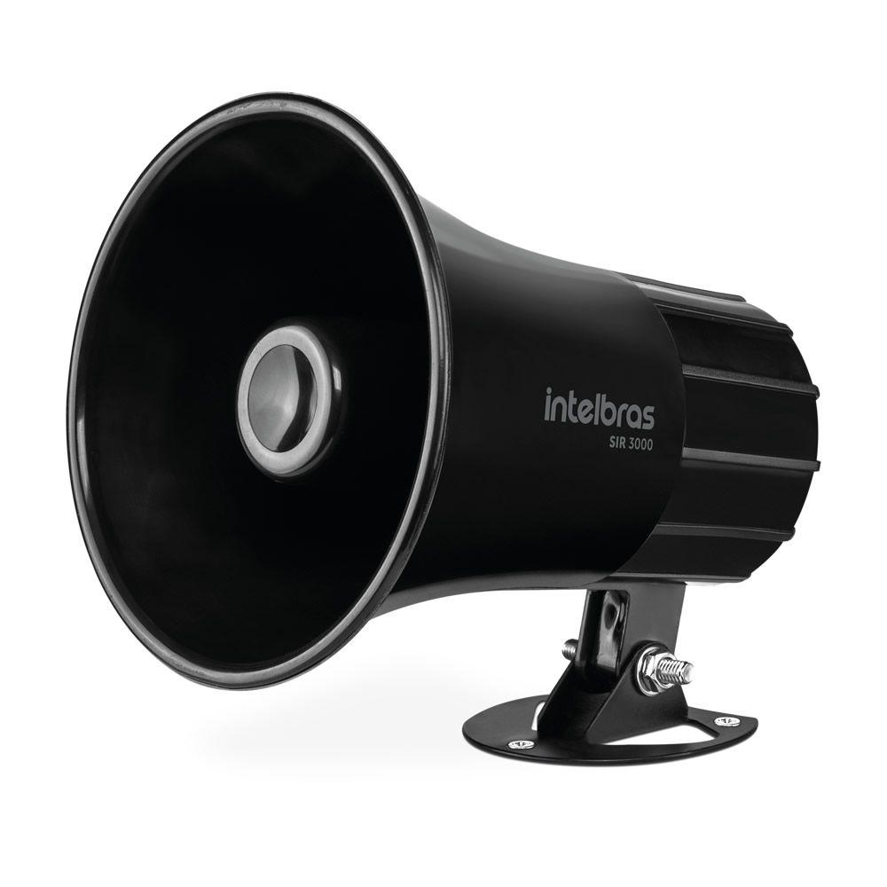 Sirene Magnética Alarme e Cerca 9 a 15 VDC 120dB SIR 3000 Preto Intelbras