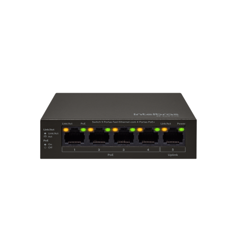 Switch 05 Portas Fast 10/100 Com 4 Portas PoE+ SF 500 PoE Intelbras
