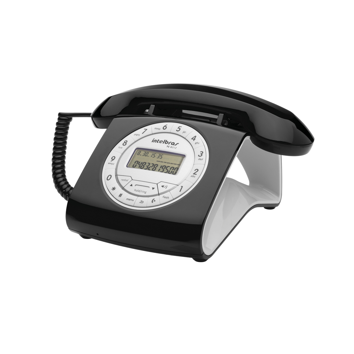 Telefone Com Fio Design Estilo Retrô Preto TC 8312 Intelbras